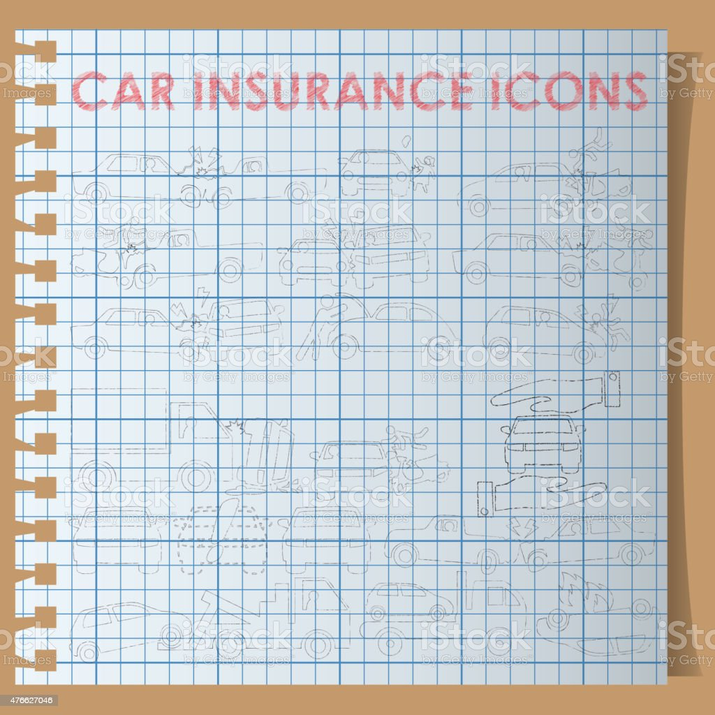 car insurance icons on graph book vector art illustration