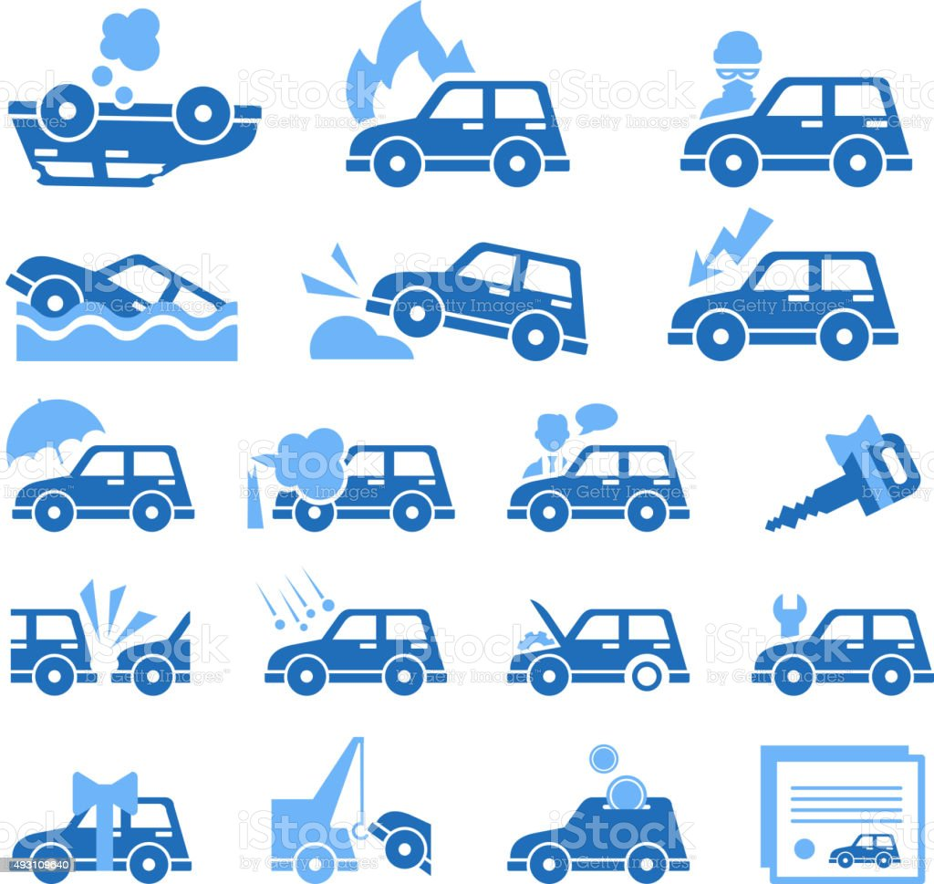 Car Insurance Icons Set. Vector Illustration in Flat Style vector art illustration