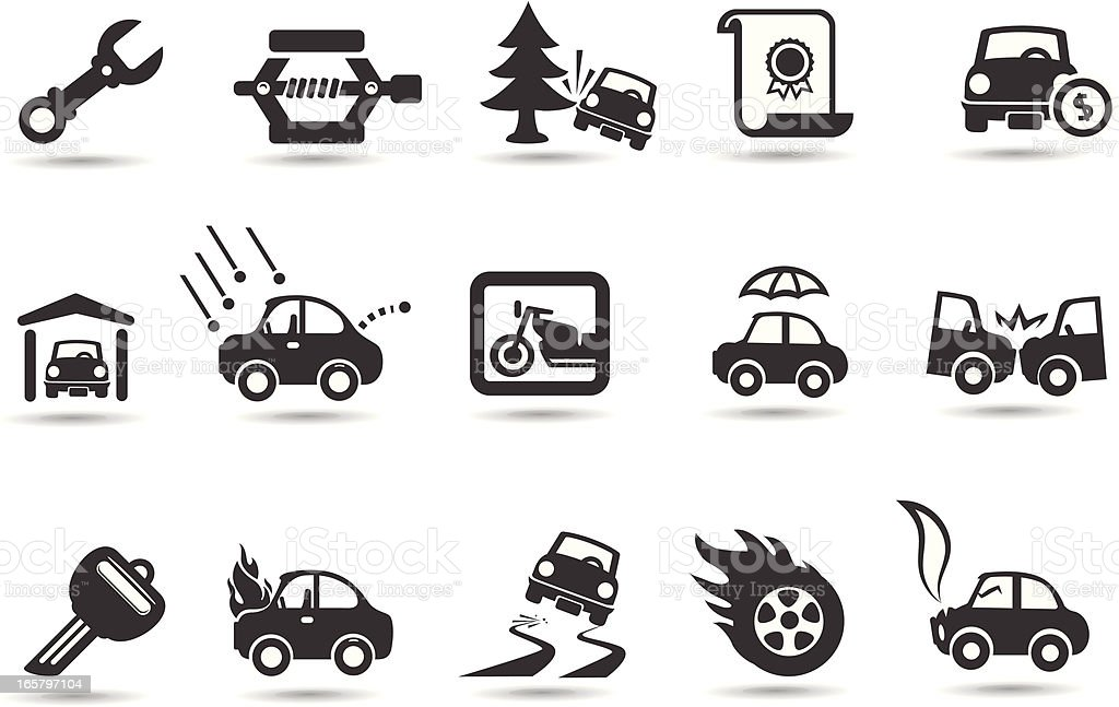 Car Insurance Icons royalty-free stock vector art
