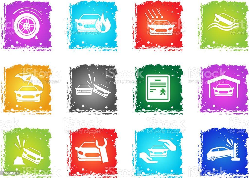 Car Insurance Icons vector art illustration
