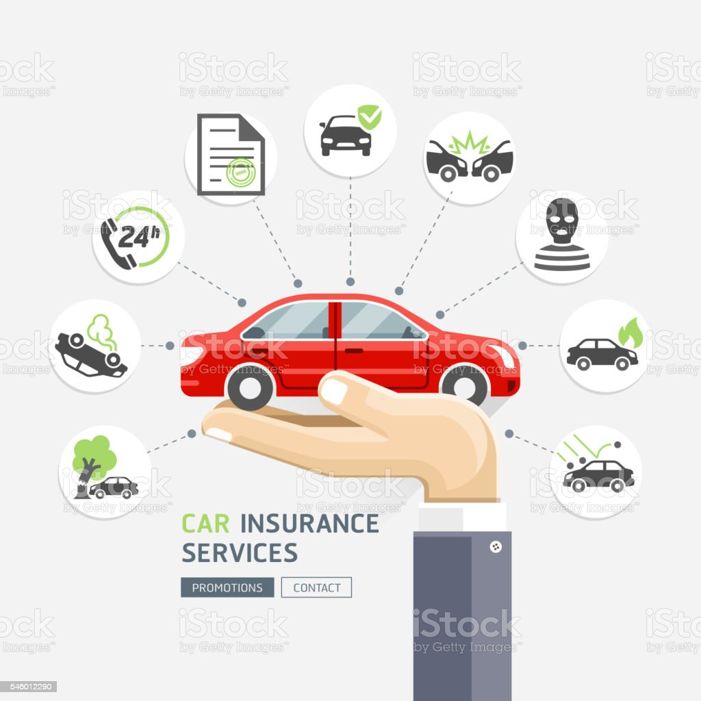 Car insurance services. Business hands holding red car.