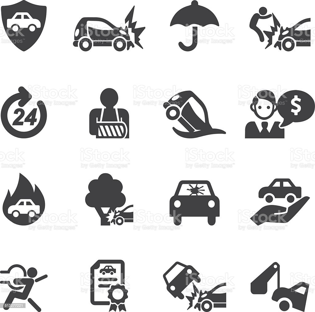 Car Insurance Silhouette icons | EPS10 vector art illustration