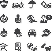 Car Insurance Silhouette icons | EPS10