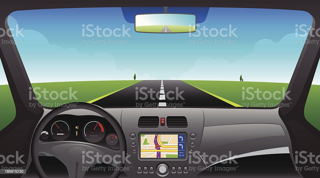 Car interior dashboard with GPS device vector art illustration