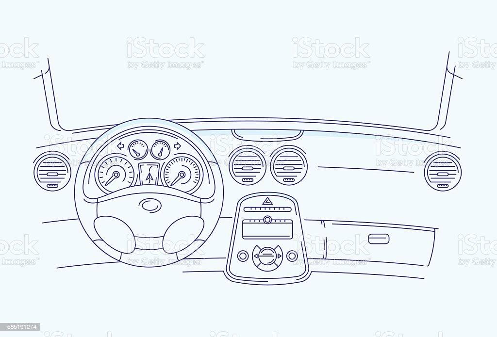 car interior vector art illustration
