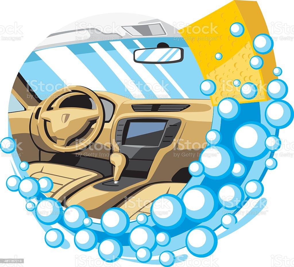 car interior wash vector art illustration