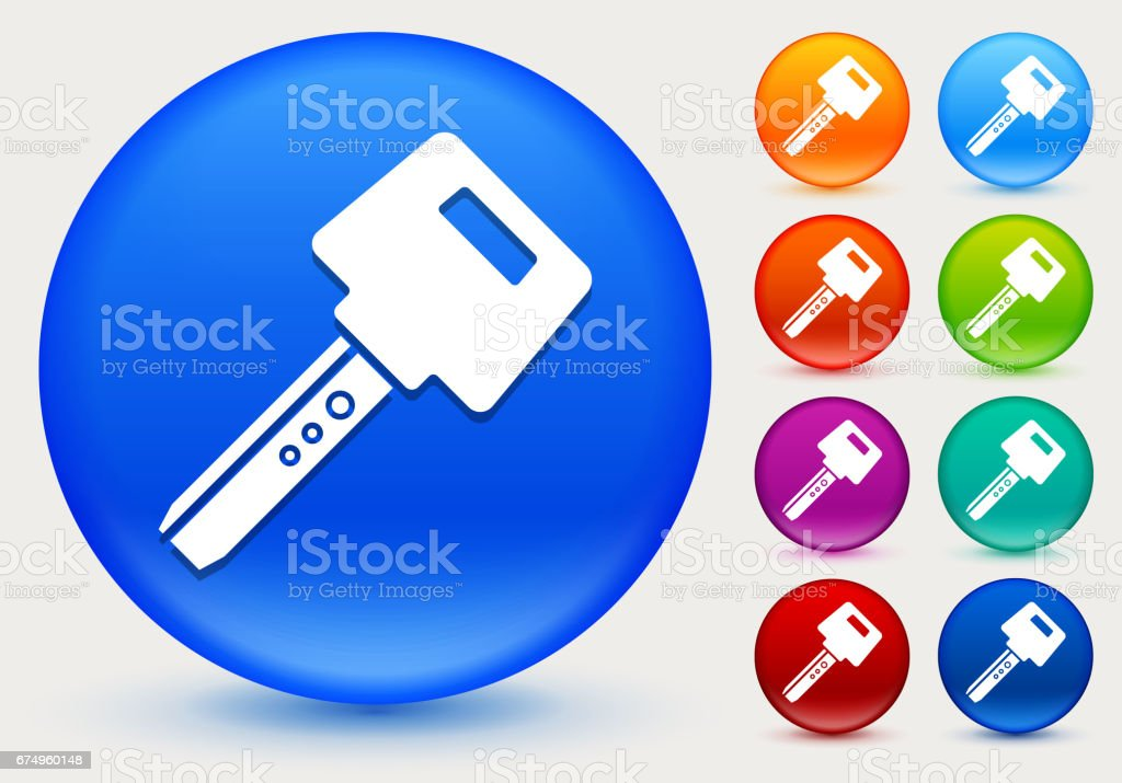 Car Key Icon on Shiny Color Circle Buttons vector art illustration