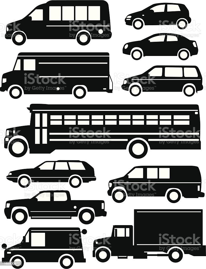 Car Lot vector art illustration