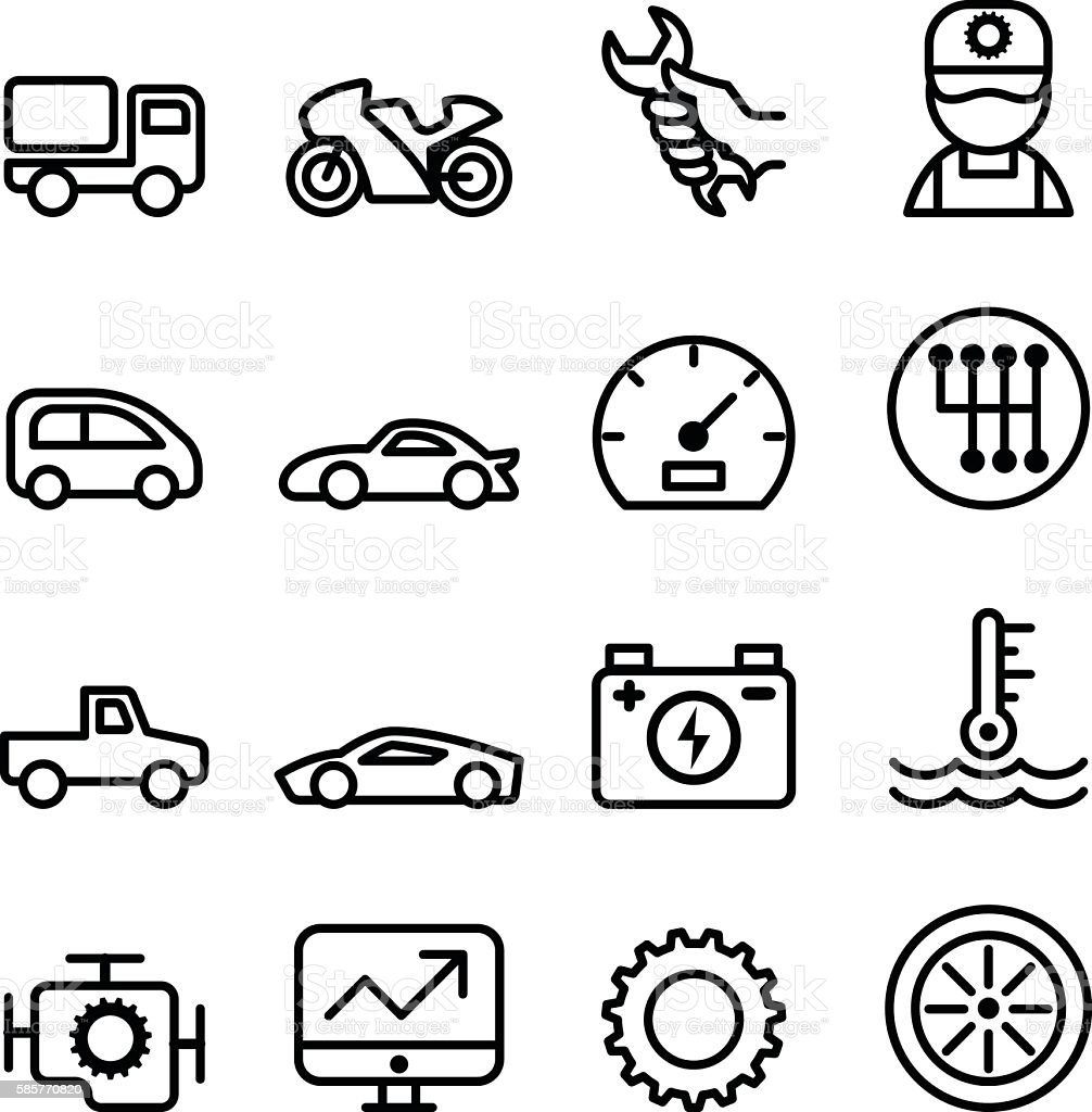 Car maintenance and repair icon set in thin line style vector art illustration