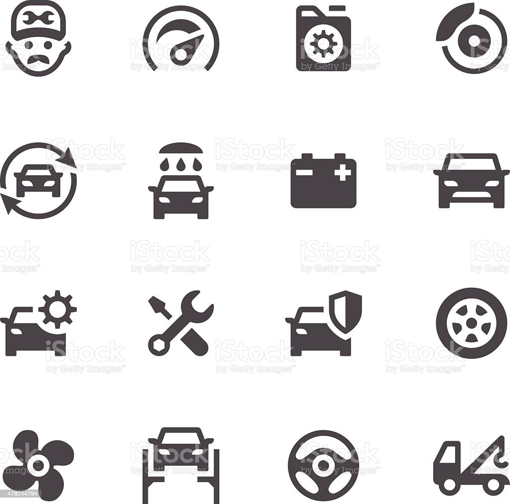 Car Maintenance Service Icons vector art illustration