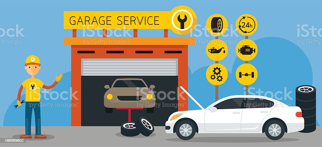 Car, Mechanic and Garage Service Icons and Illustration vector art illustration