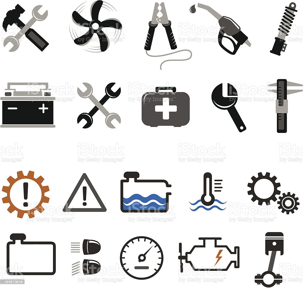 Car mechanic and service tools icons royalty-free stock vector art