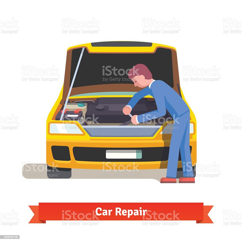 Car mechanic repairs engine at car service station vector art illustration
