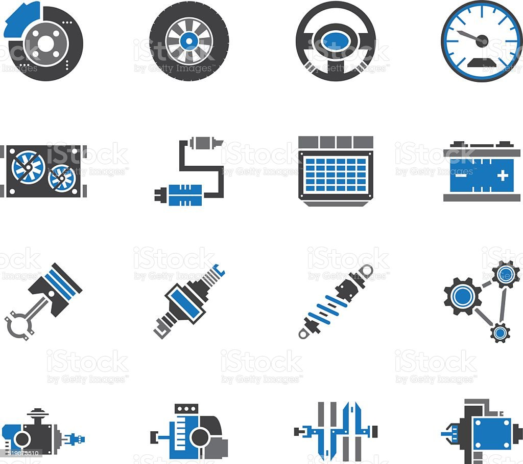 car mechanic tools element vector icon set on white background vector art illustration