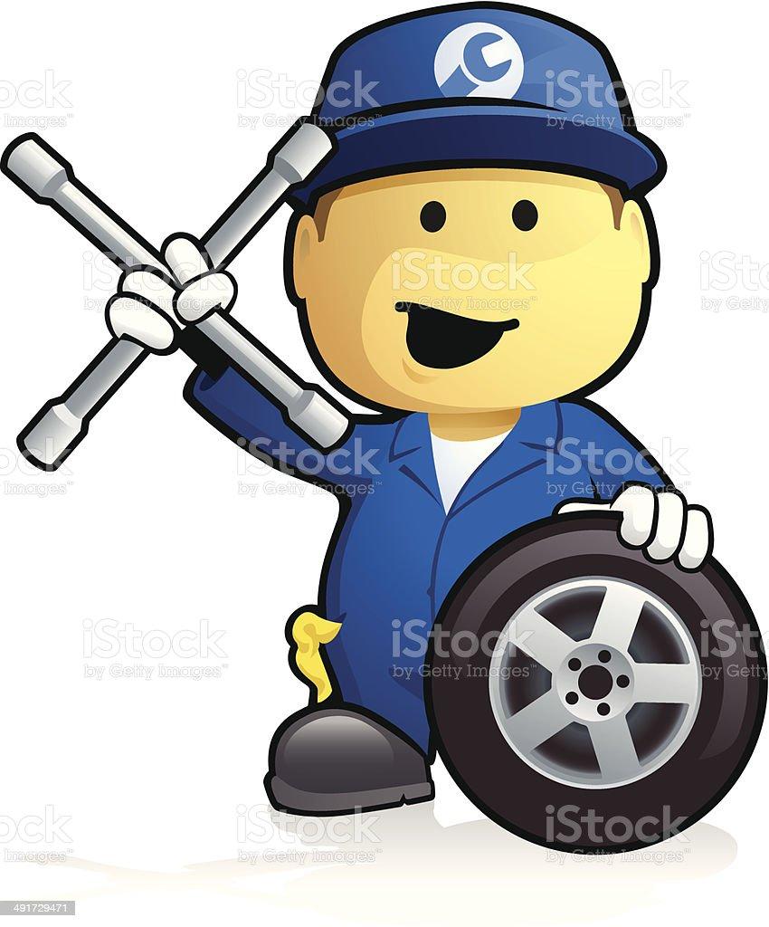 Car Mechanic - Tyre Change vector art illustration