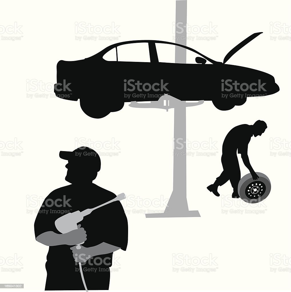 Car Mechanics Vector Silhouette royalty-free stock vector art