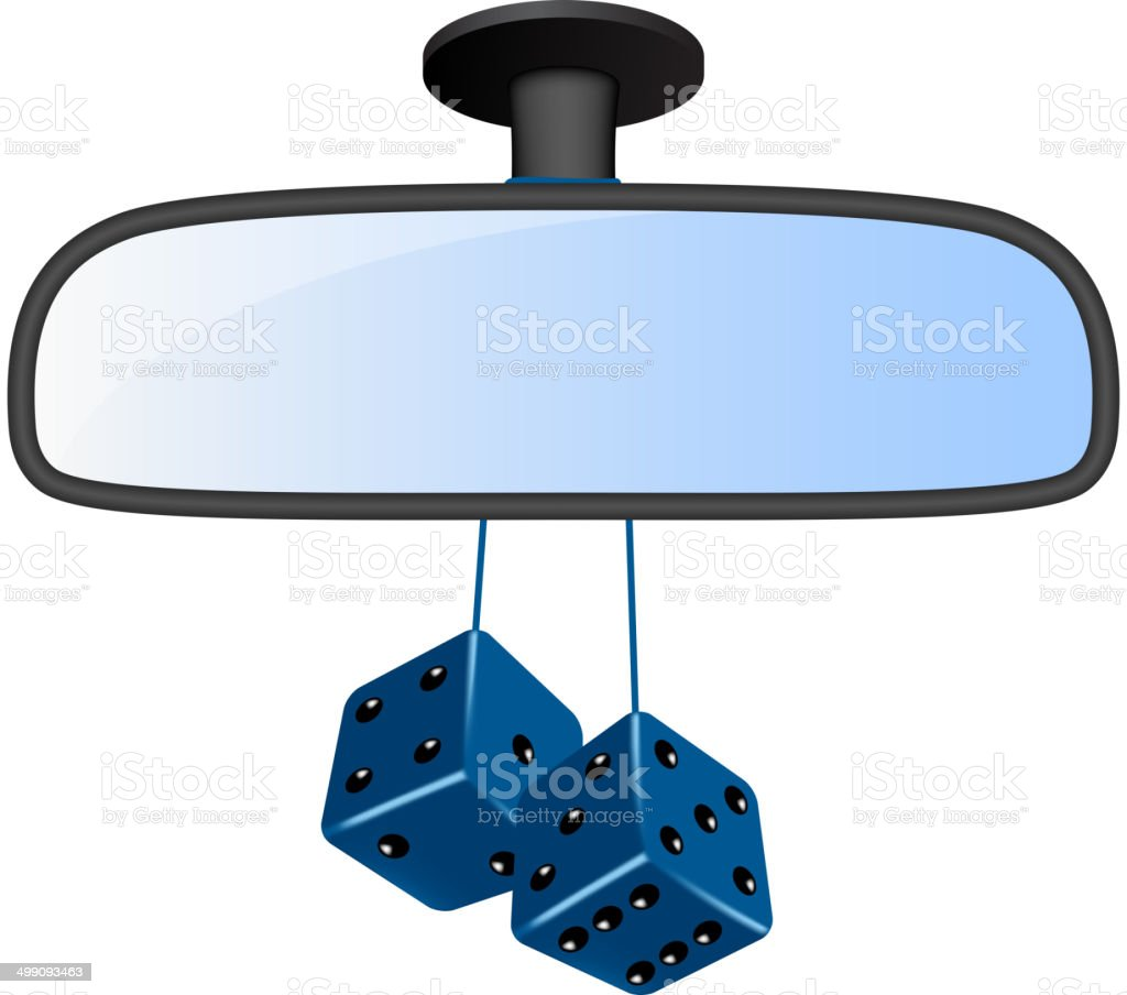 Car mirror with pair of blue dices royalty-free stock vector art