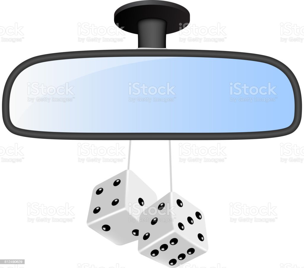 Car mirror with pair of white dices vector art illustration