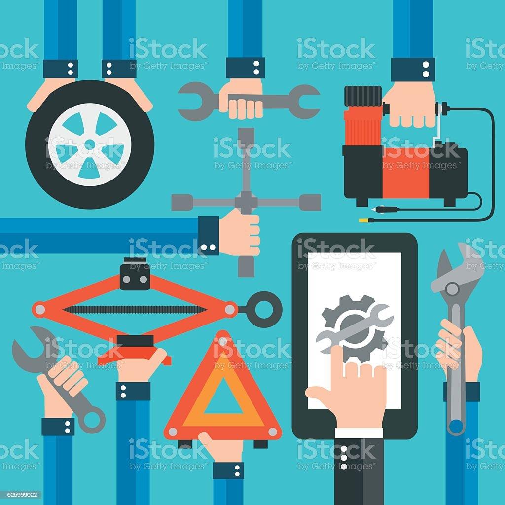 Car Online Service modern flat design vector art illustration
