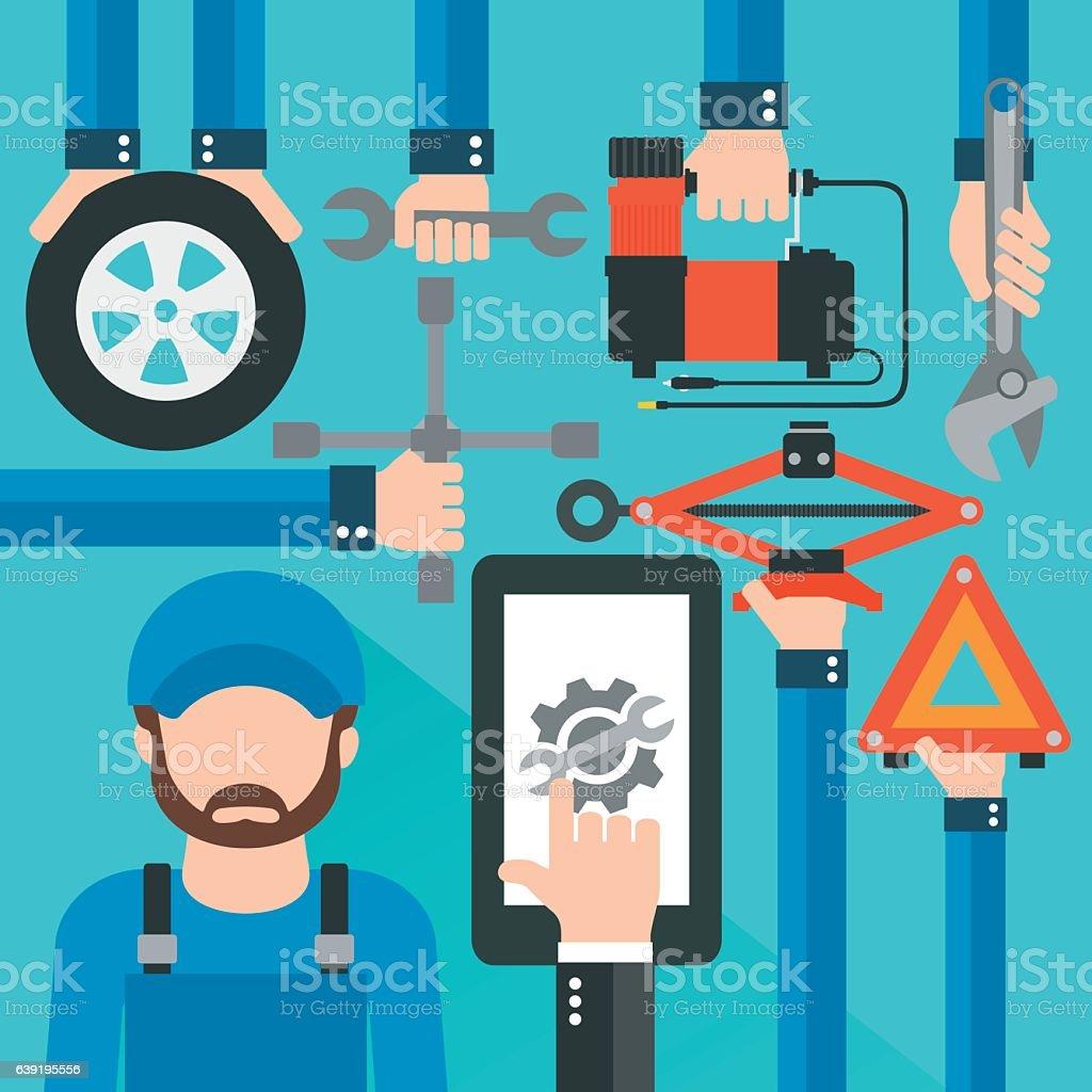 Car Online Service with repairer modern flat design vector art illustration