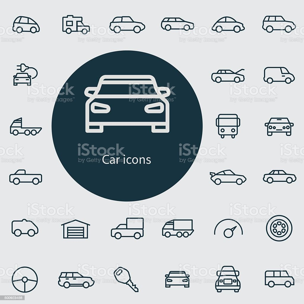 car outline, thin, flat, digital icon set vector art illustration