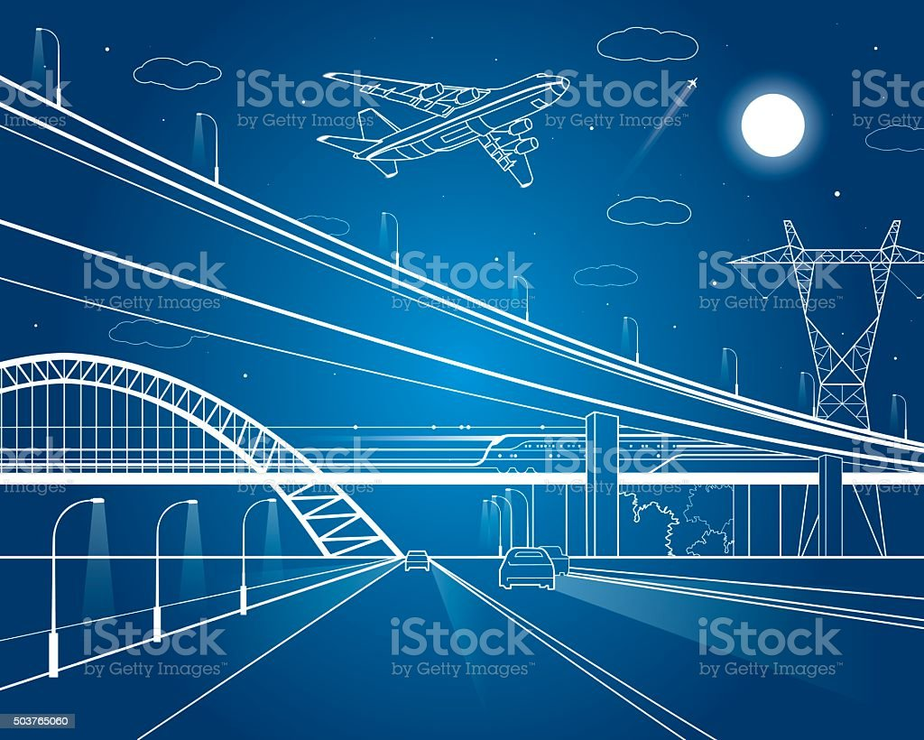 Car overpass, infrastructure, plane takes off vector art illustration