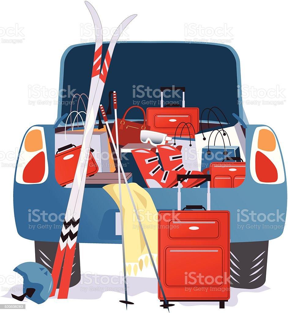 Car packed for a ski trip vector art illustration