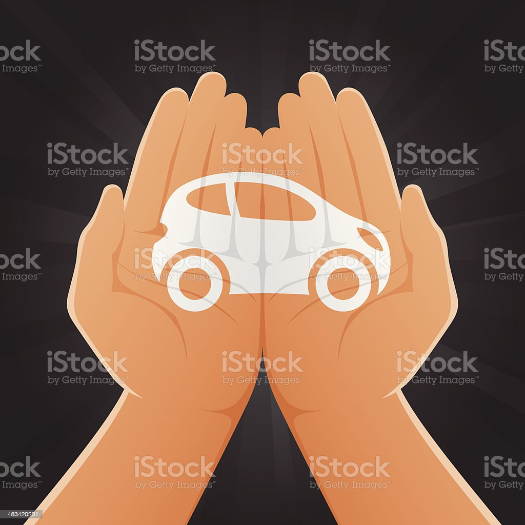 Car Painted on Hands royalty-free stock vector art