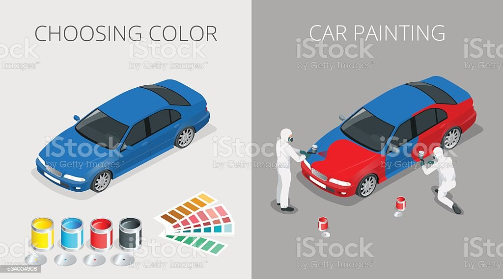 Car painting process vector art illustration