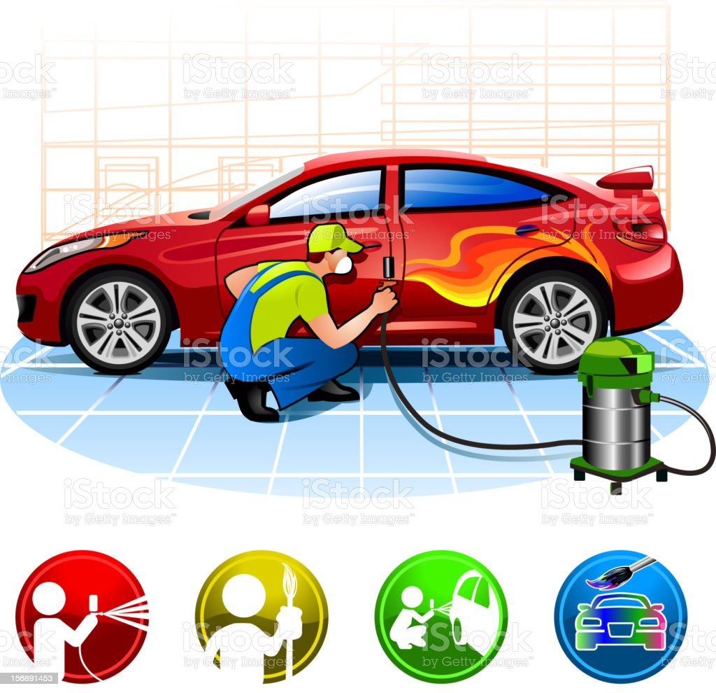 Car painting stock vector art 156891453 istock for Painting my car