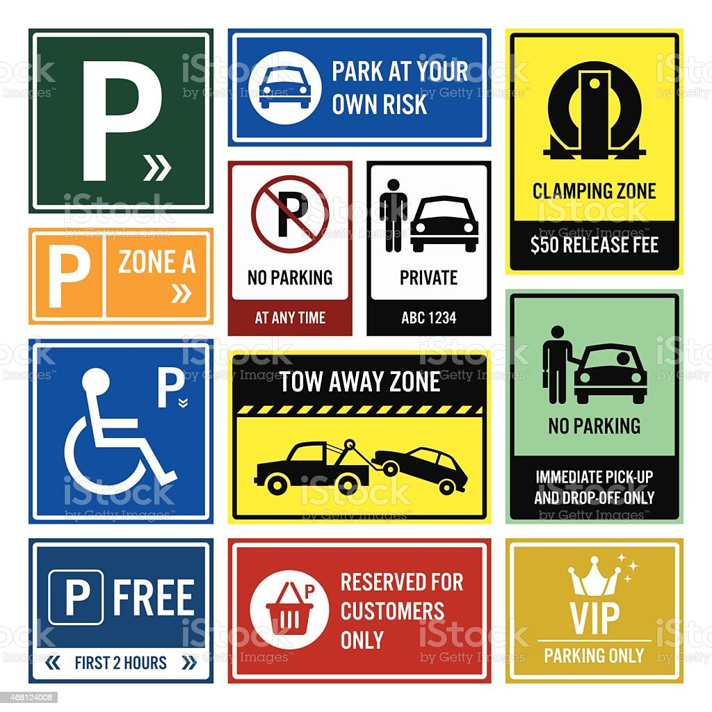 Car Park Parking Signs Signboards vector art illustration