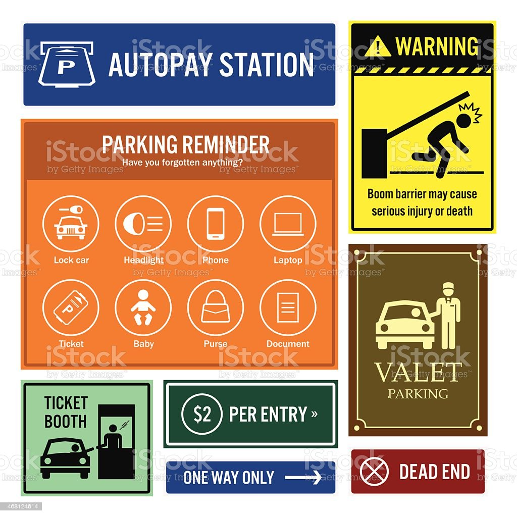 Car Park Reminder and Information Signs Signboards vector art illustration