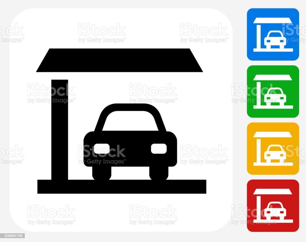 Car Parked Garage Icon Flat Graphic Design vector art illustration