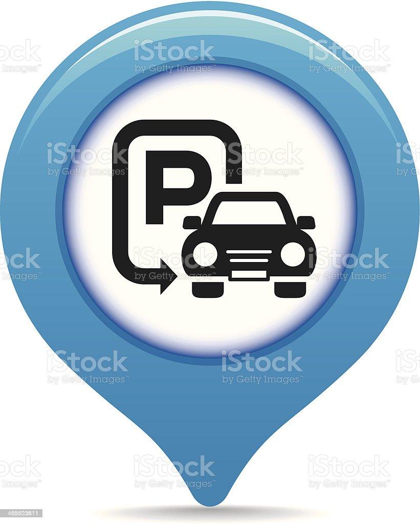 Car parking map pointer vector art illustration