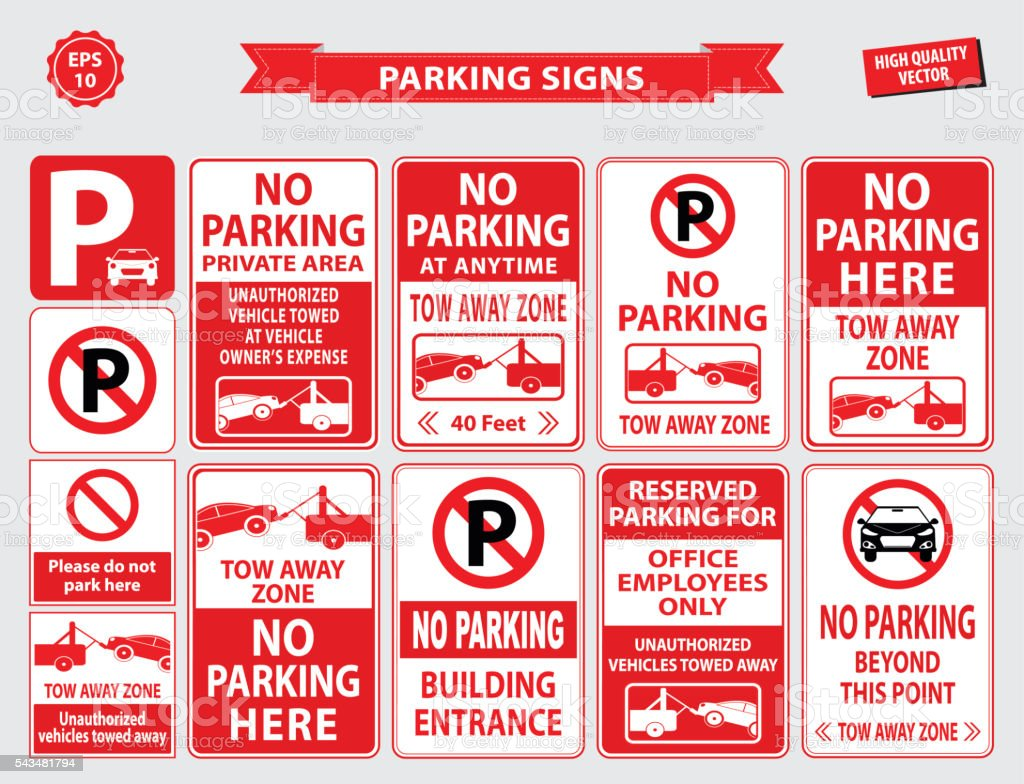 Car Parking Sign vector art illustration