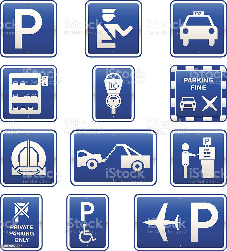 Car Parking Signs Icon Set vector art illustration