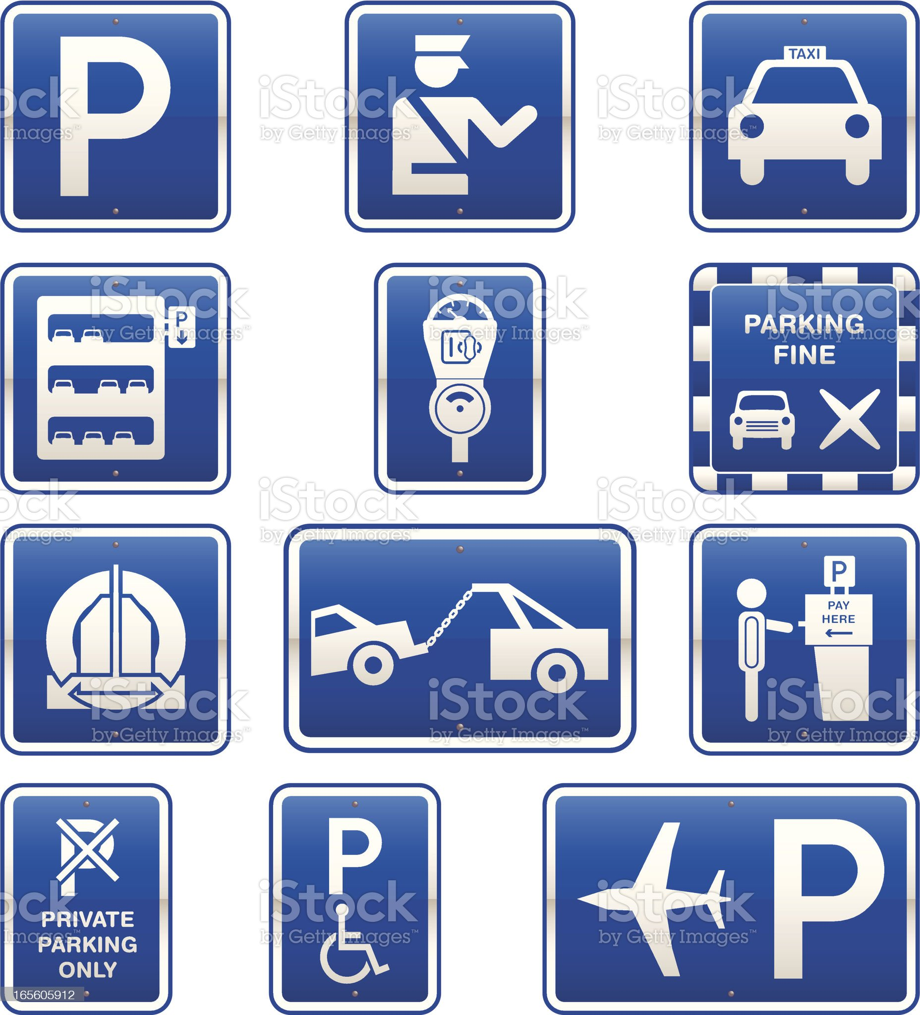 Car Parking Signs Icon Set royalty-free stock vector art