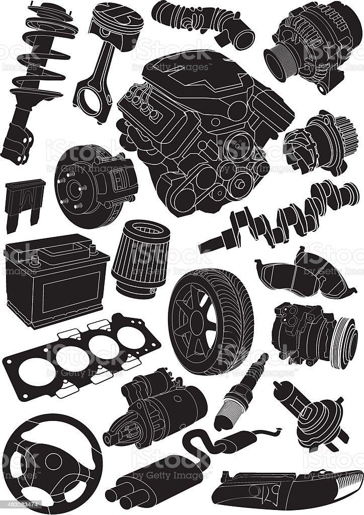car part contours vector art illustration