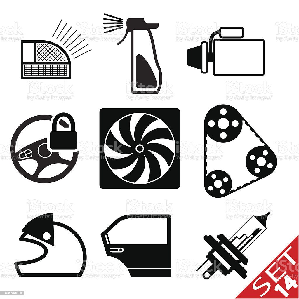 Car part icon set 14 royalty-free stock vector art
