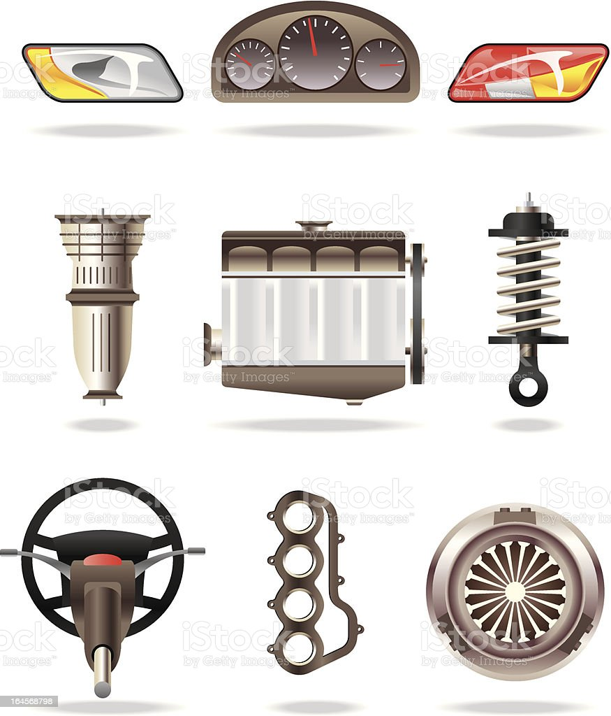 Car parts and accessories vector art illustration