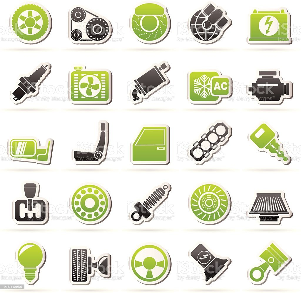 Car parts and services icons vector art illustration
