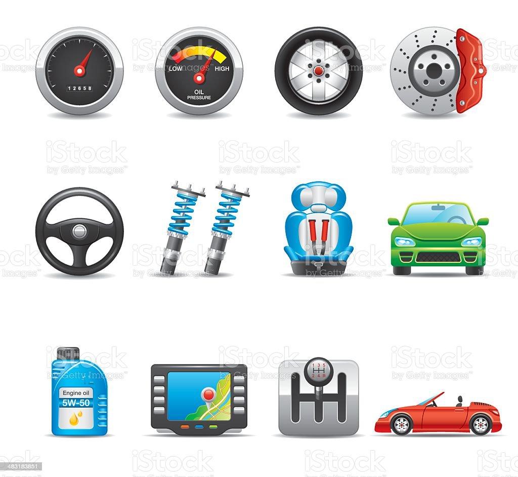Car Parts & Equipment Icon Set | Elegant Series royalty-free stock vector art
