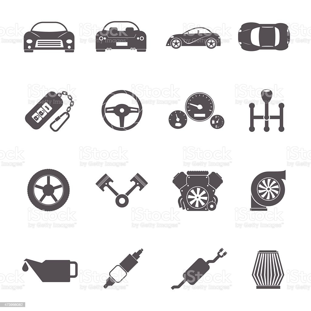Car parts icons vector art illustration