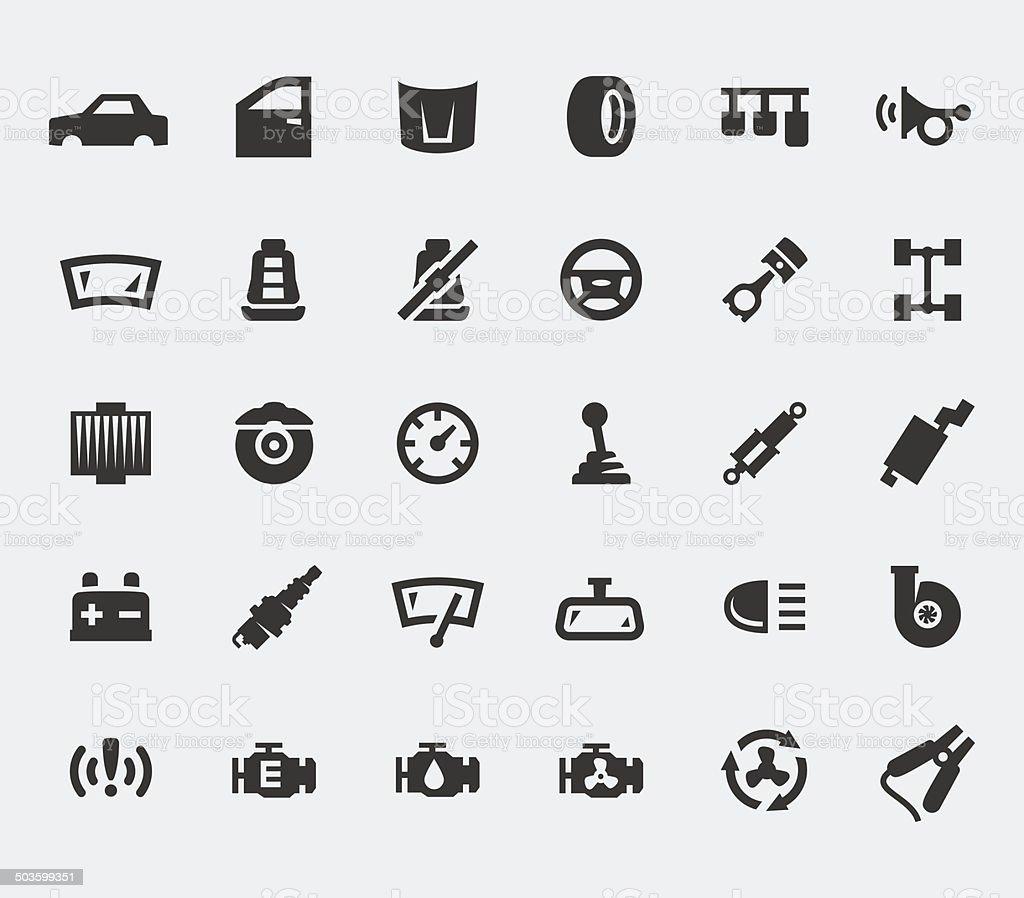 Car parts large icons set vector art illustration
