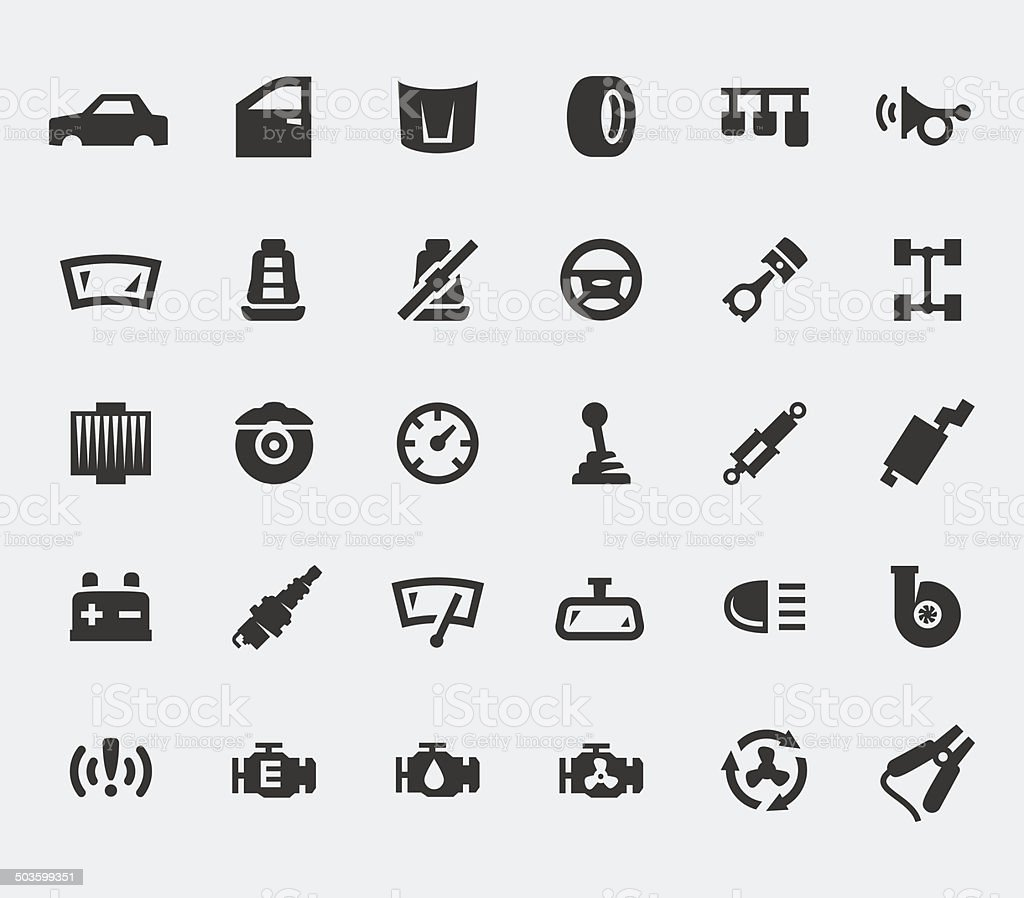 Car parts large icons set vector art illustration