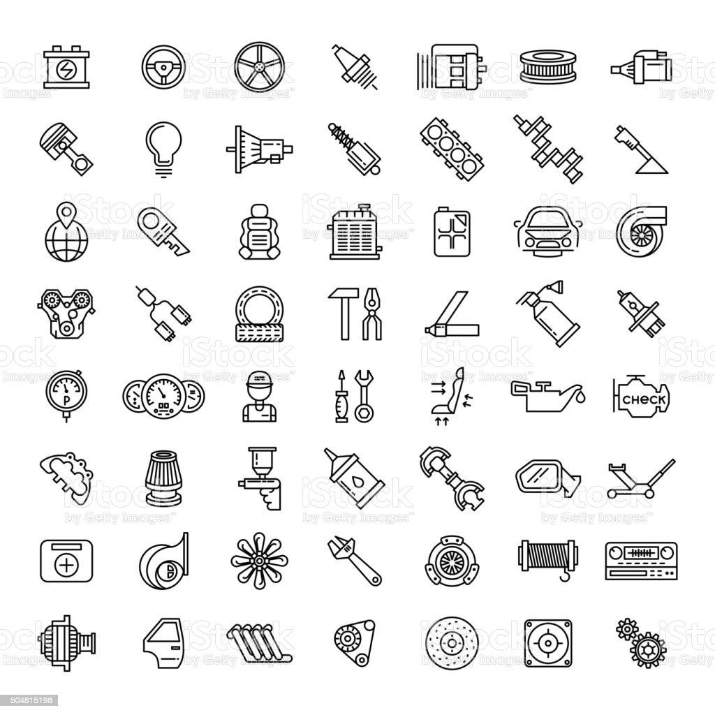 Car parts line icons set vector art illustration