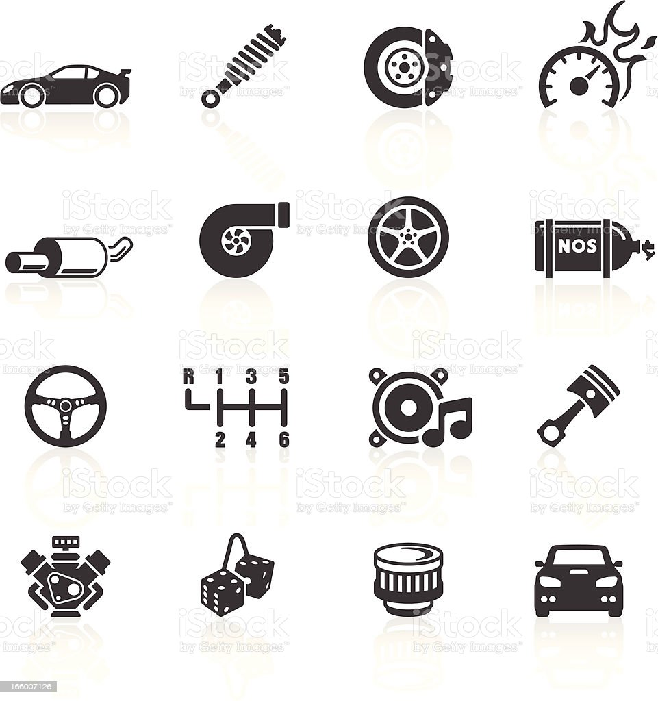 Car Parts & Performance Icons vector art illustration