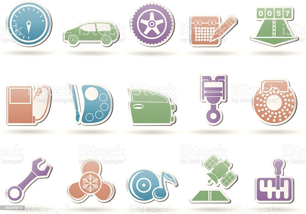 car parts, services and characteristics icons royalty-free stock vector art