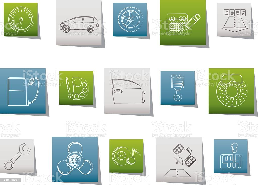 car parts, services and characteristics icons vector art illustration