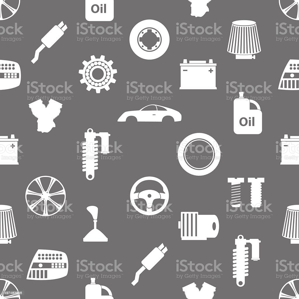 car parts store simple icons seamless pattern eps10 vector art illustration